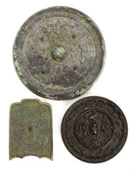 three_chinese_bronze_mirrors_han_tang_dynasty_d5453846h