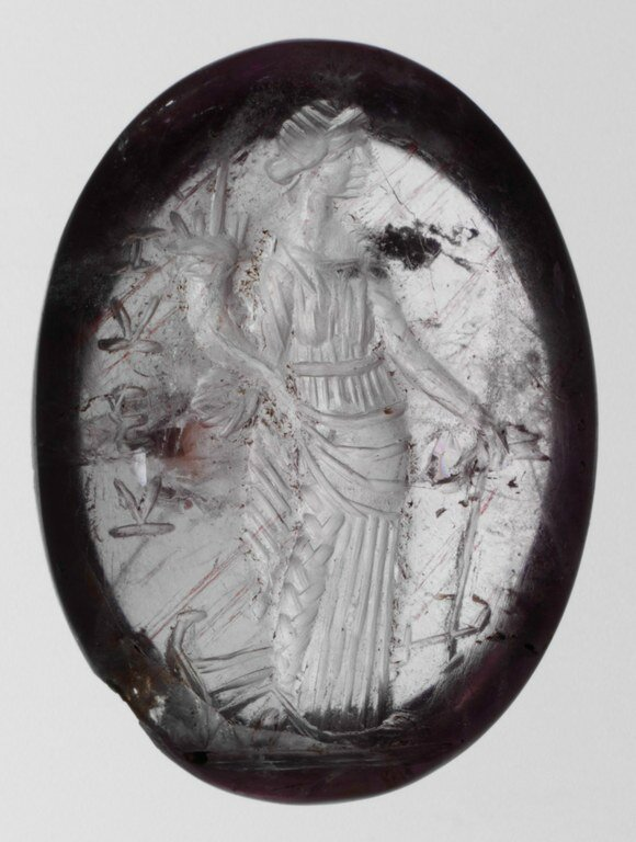 Gem Engraved with Tyche (Fortuna), with Cornucopia and Rudder Amethyst
