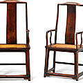 A pair of large huanghuali high continuous yokeback armchairs, late ming dynasty