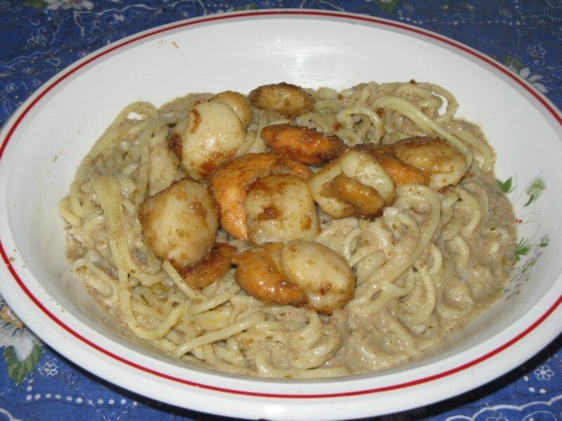 Spaghetti n°5 et noix de St Jacques sauce au parmesan