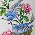 Dessins aux pastels secs : oiseaux bleus
