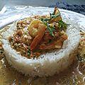 Crevettes coco curry