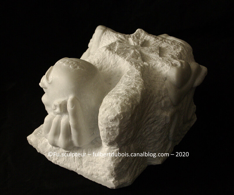 Fu sculptor marble direct carving sculpture figurative art artist satan exposed Fulbert DUBOIS France 2020