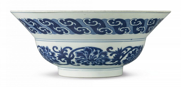 A rare blue and white ogee-form bowl, Yongzheng mark and period (1723-735)