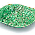 A moulded green-glazed 'floral' dish, liao dynasty (907-1125)