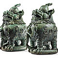 An extremely rare pair of massive luduan-form bronze censers, qing dynasty, kangxi period (1662-1722)