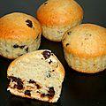 Muffins banane et pépites de chocolat (sans oeuf et sans mg ajoutée)