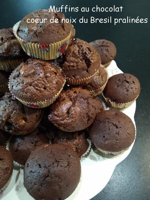 Muffins au chocolat coeur de noix du Bresil pralinées2