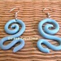 Boucles d'oreilles Ondulations Bleu clair - 8€