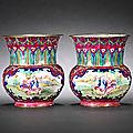 A pair of famille rose canton enamel 'european subject' vases, zhadou. qianlong-jiaqing.