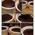 Coulant au chocolat noir, coeur de chocolat blanc