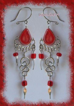 Boucles D'Oreilles Suzana Verre Murano Rouge Métal Argenté Artisanat du Pérou