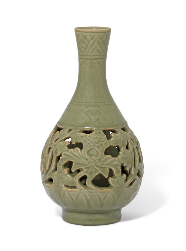 A rare reticulated Longquan celadon 'peony' vase, yuhuchunping, Ming dynasty (1368-1644)