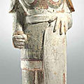 A painted red pottery figure of a soldier, northern qi dynasty (550-577)