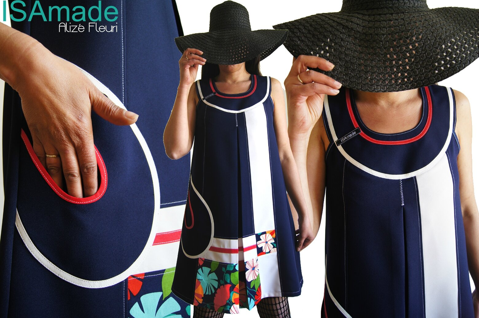 MOD 420A robe bleu marine blanc rouge fleurie chic habillée made in France graphique 70's