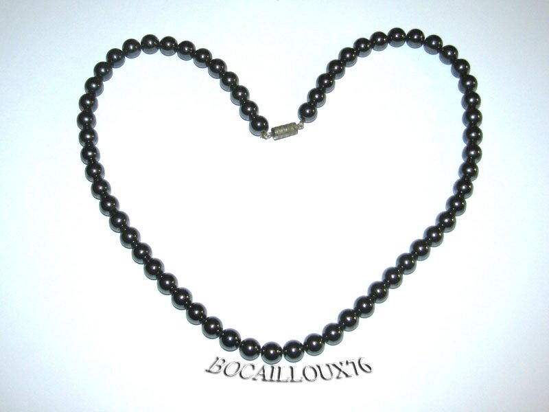 Collier HEMATITE 4 Perles 8,5mm (5)