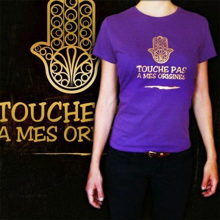 t-shirt-violet-pourpre-femme-touche-pas-a-mes-origines