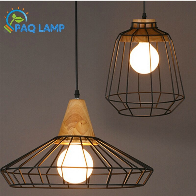 Retro-style-chandeliers-lamps-font-b-Wood-b-font-and-iron-black-cage-font-b-lampshade