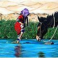 Petite marocaine et sa mule - Huile 35 x 27 - 13 novembre 2005