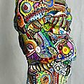 Hervé THAREL - SCHMIMBLOCK'S talltem 2013 - gouache T7 sur argile 45,5 x 10 cm 5
