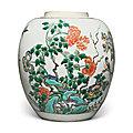 A famille-verte 'bird and flower' jar, qing dynasty, kangxi period (1662-1722)