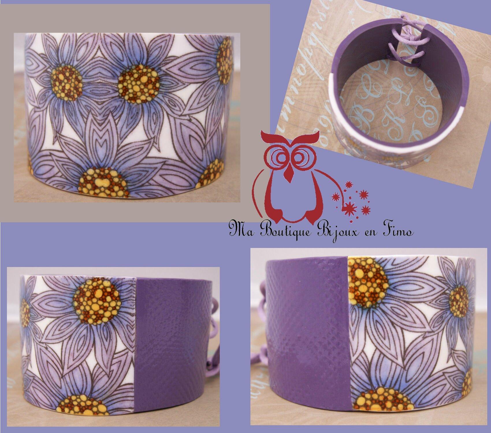 Bracelet Esclave fleurs violettes 1B
