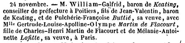 William Galfrid de KEATING_Mariage__Annuaire de la noblesse de France 1859