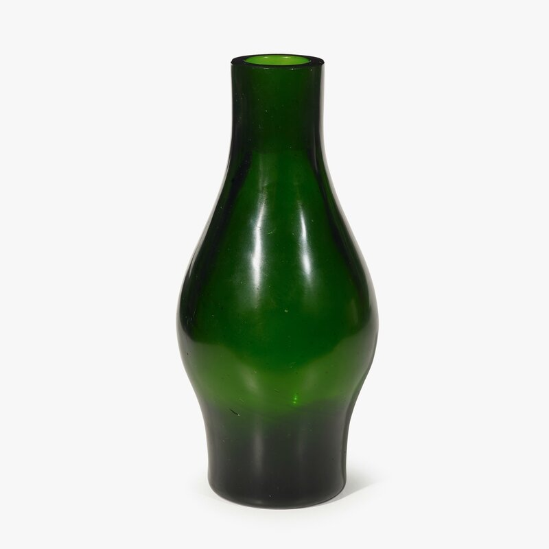 A Chinese green glass spindle-form vase, Qianlong four-character wheel-cut mark within a square and of the period