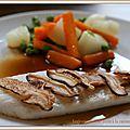 Turbot, shiitake et petits légumes sautés, sauce ponzu