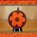 Bague fleur orange imatation cuir (N)
