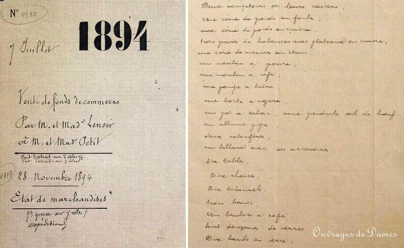 Vente fonds 1894 - mobilier