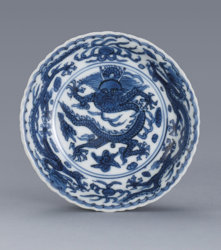 A_blue_and_white__Dragon__saucer__Mark_and_period_of_Wanli