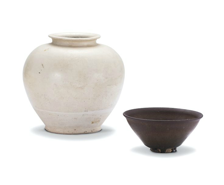 A white-glazed jar and a 'jian' 'hare's fur' teabowl, Tang dynasty and Song dynasty