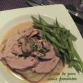 Filet de porc, sauce forestière au poivre vert, sans gluten, pommes de terre anna
