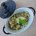 Filet d'églefin au lait de coco, curry, coriandre et petits légumes