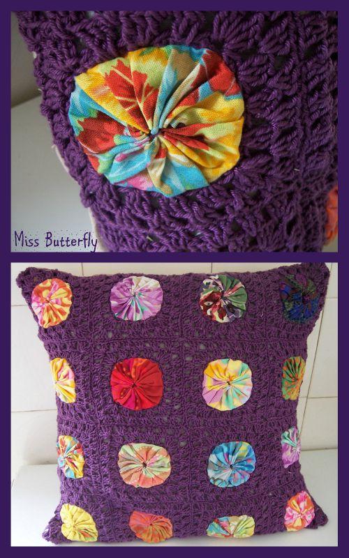 yo-yo granny cushion
