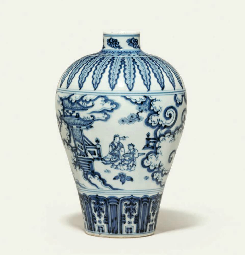 A very rare blue and white vase, meiping, Ming dynasty, 15th-16th century