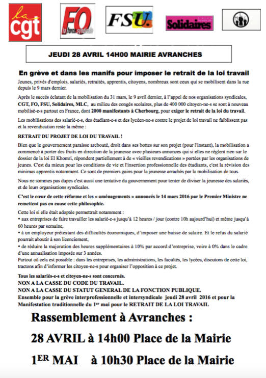 tract manifestation contre projet loi travail Avranches 28 avril 1er mai 2016
