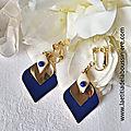 BO Elégance (bleu) - 29 € sur clip ou pour oreilles percées