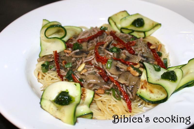 Capellini jambon, champignons & tomates séchées face