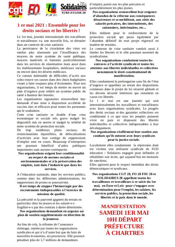 DEF-Appel unitaire 1er mai Eure et Loir