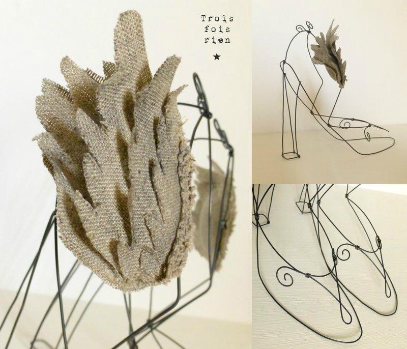 Escarpins de 7 lieues, chaussures ailées, chaussures fil de fer, escarpins, wire shoes, wings 2