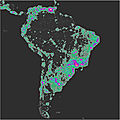 Artificial sky brightness of South America