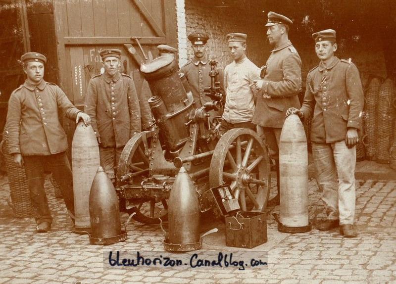 Mortier de 420 et artilleur - Minenwerfer 1914 1918