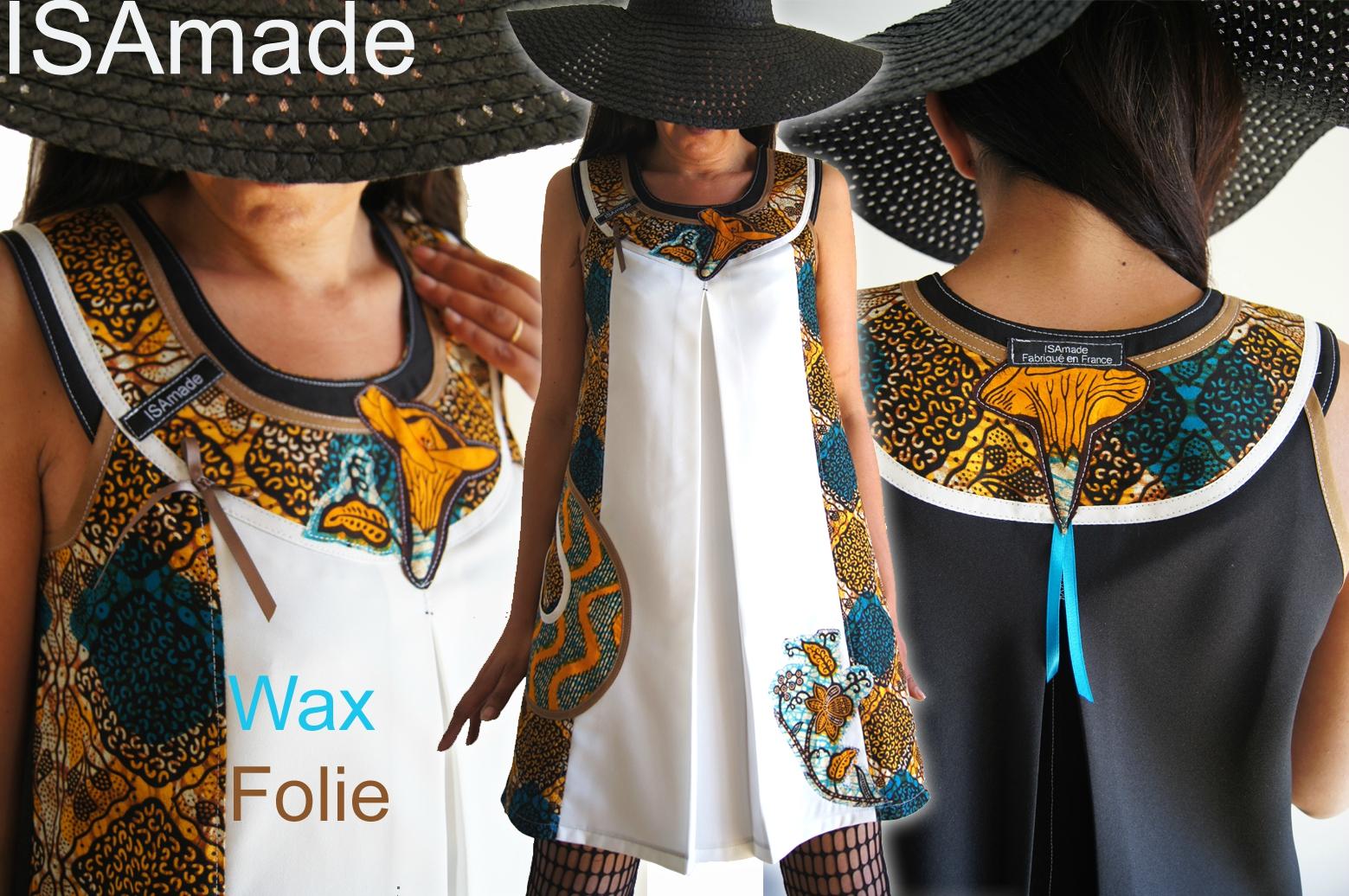 Robe trapèze de style Noire / Wax africain