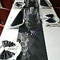 CENTRE DE TABLE DECO TABLE MARIAGE THEME NOIR ET BLANC ARGENT