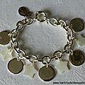 Bracelet sur chaîne plaqué argent ovale composé de 5 médailles en argent massif bombées et 4 étoiles en nacre blanche