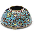 A rare large cloisonné enamel beehive-shaped waterpot, taibo zun, jingtai incised seal mark, late ming dynasty