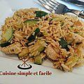Poêlée de riz, courgettes et poulet