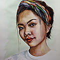 portrait aquarelle jeune femme Asiatique young Asian woman watercolor